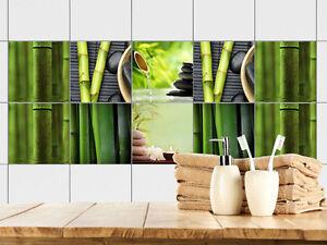 Fliesenbilder klebefliesen fliesen bad bekleben bambus steine relax entspannen ebay - Klebefliesen bad ...