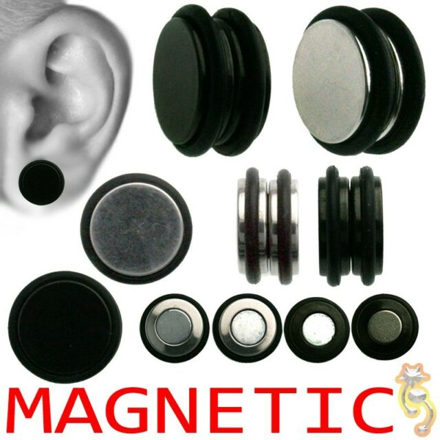 Magnetic Fake Plugs Silver Black O Ring Cheater Large Small 00g 0g Body Jewelry
