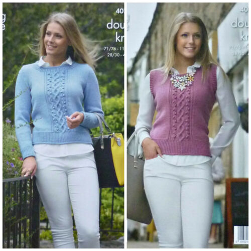 KNITTING PATTERN Ladies Long Sleeve Round Neck Cable and Bobble Jumper DK 4073