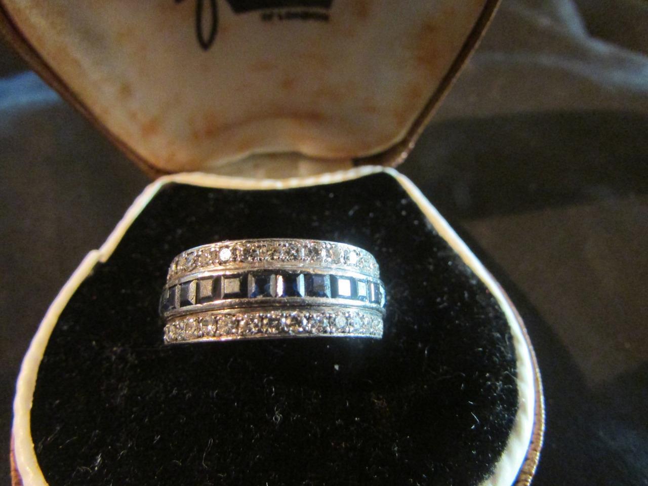Exquisite Art Deco Qualità Robusto Platino Zaffiro & Diamante Diamante Diamante Anello Night & Day 506142
