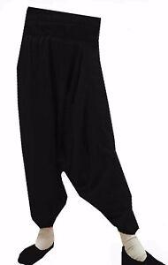 Indian Alibaba Pants Harem Men/'s Trouser  Plus size Big Tall Solid Black L-50
