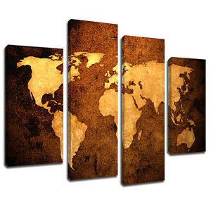 Mab092 sepia leather world map canvas wall art multi panel split image is loading mab092 sepia leather world map canvas wall art gumiabroncs Images