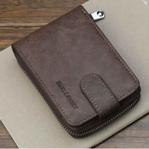 Men/'s Wallet PU Leather Bifold ID Credit Card Holder Zipper Thin Pocket Purse