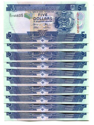 SOLOMON ISLANDS 5 DOLLARS ND 2008 P-26 UNC LOT 10 PCS