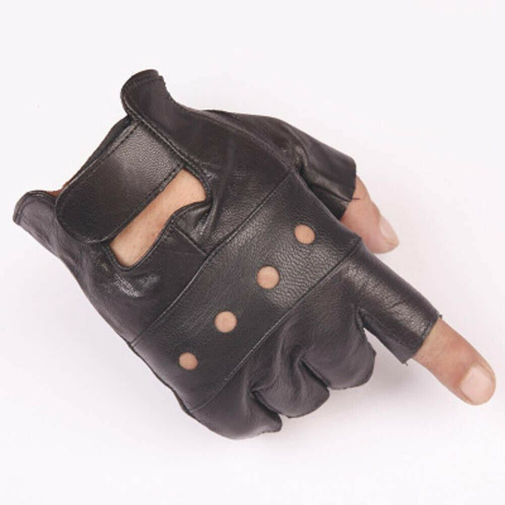 1 Pair Men's Hip-hop Half Finger Leather Gloves Driving Motorcycle Dance Mittens