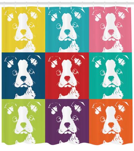 Boston Terrier Shower Curtain Fabric Bathroom Decor Set with Hooks 4 Sizes