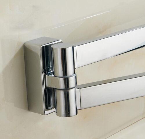 Bathroom Towel Rack Double Bar Rail Holder Wall Mount Swivel Hanger Chrome Shelf