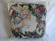 "TAPESTRY THROW PILLOW 15"" Angel Harp Roses Dove Birds Green Wreath Christmas"