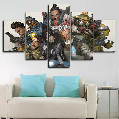 Framed Apex Legends Canvas Print Modern Wall Art Home Decor 5 Piece Ebay