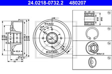 2x Brembo 14.5493.10 Bremstrommel RENAULT 11 19 19 I 9 CLIO SUPER 5 TWINGO D53