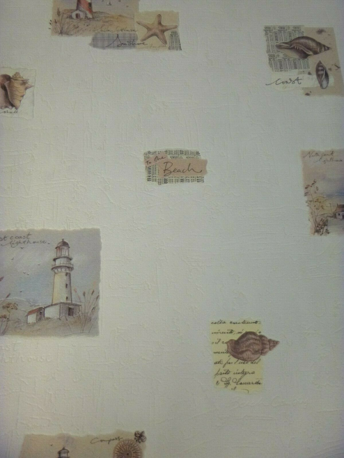 Cream Washable Vinyl Shell Style Bathroom Wallpaper 12094505