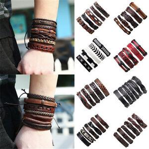 6pcs-Fashion-Men-039-s-Punk-Leather-Wrap-Braided-Wristband-Cuff-Punk-Bangle-Bracelet