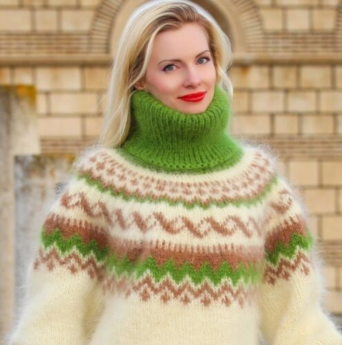 flou en nordique la Pull Pull ivoire à et col mohair roulé vert à main tricoté islandais Z1qpqwf