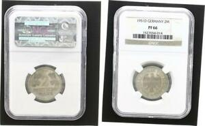 2 DM Currency Coin 1951 D Proof Edition 200 Minted NGC Certified