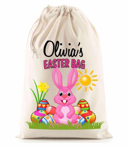 Mignon personnalisé fille rose lapin de pâques sac nommé chasse aux oeufs présent sack