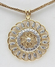 Yellow 18KGold Sterling Silver Diamond Pendant Flower Geometric Christmas Gift