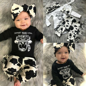 Headband Outfits Set Toddler Baby Girl Clothes Cow Letter T Shirt Pants