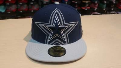188ae97e195 New Era NFL Dallas Cowboys Grand Logo 2 Tone Navy 59Fifty Fitted Cap Hat  NewEra