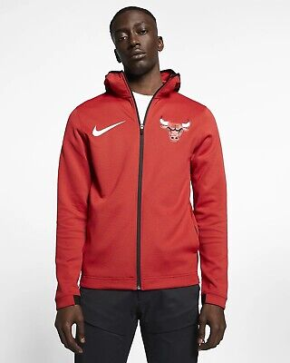 NWT MEN/'S NIKE CHICAGO BULLS SHOWTIME THERMA FLEX ON COURT BENCH HOODIE SZ LARGE