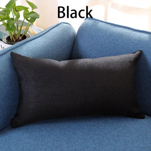 Rectangular Cotton Linen Pillow Case Sofa Waist Throw Cushion Cover Home Decor