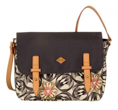 Oilily Flower Swirl M Shoulder Bag Umhängetasche Charcoal Schwarz Weiß Neu