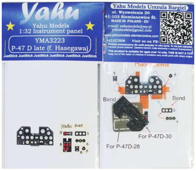yma4816// YAHU Models late - Instrument panel 1//48 P-47 Thunderbolt