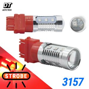 2x 3157 3057K 15-LED Bright Tail Rear Brake Alert Safety Red Flash Strobe Lights