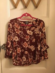 Top Loose Blouse Floral Women's Maroon xF7I66