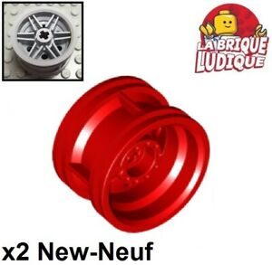 Lego-2x-roue-jante-wheel-30-4-mm-D-x-20-reinforced-rouge-red-56145-NEUF