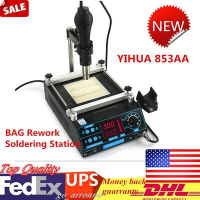 YIHUA 853AA LCD Adjustable BAG Rework Soldering Station Hot Air Gun IR Preheater