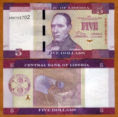 Liberia, 5 dollars 2017 (2018), P-New, UNC > Redesigned, New Date