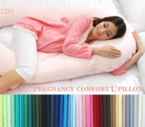12ft Comfort U Pillow & Case Back Body Support Nursing Maternity Pregnancy V NEW