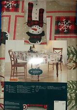 CHRISTMAS TABLECLOTH 60 x 84 OVAL SNOWMAN DEER TREES SLEDS CARS SNOW FLAKES NEW