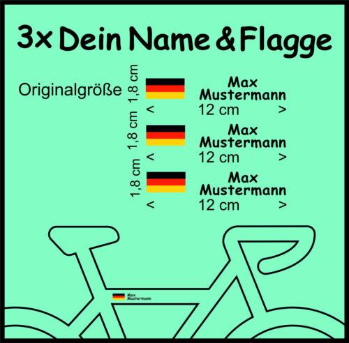 3 x Flagge Name  Helm MTB Rennrad Cyclocross Dezenter Aufkleber  12//1,8 cm