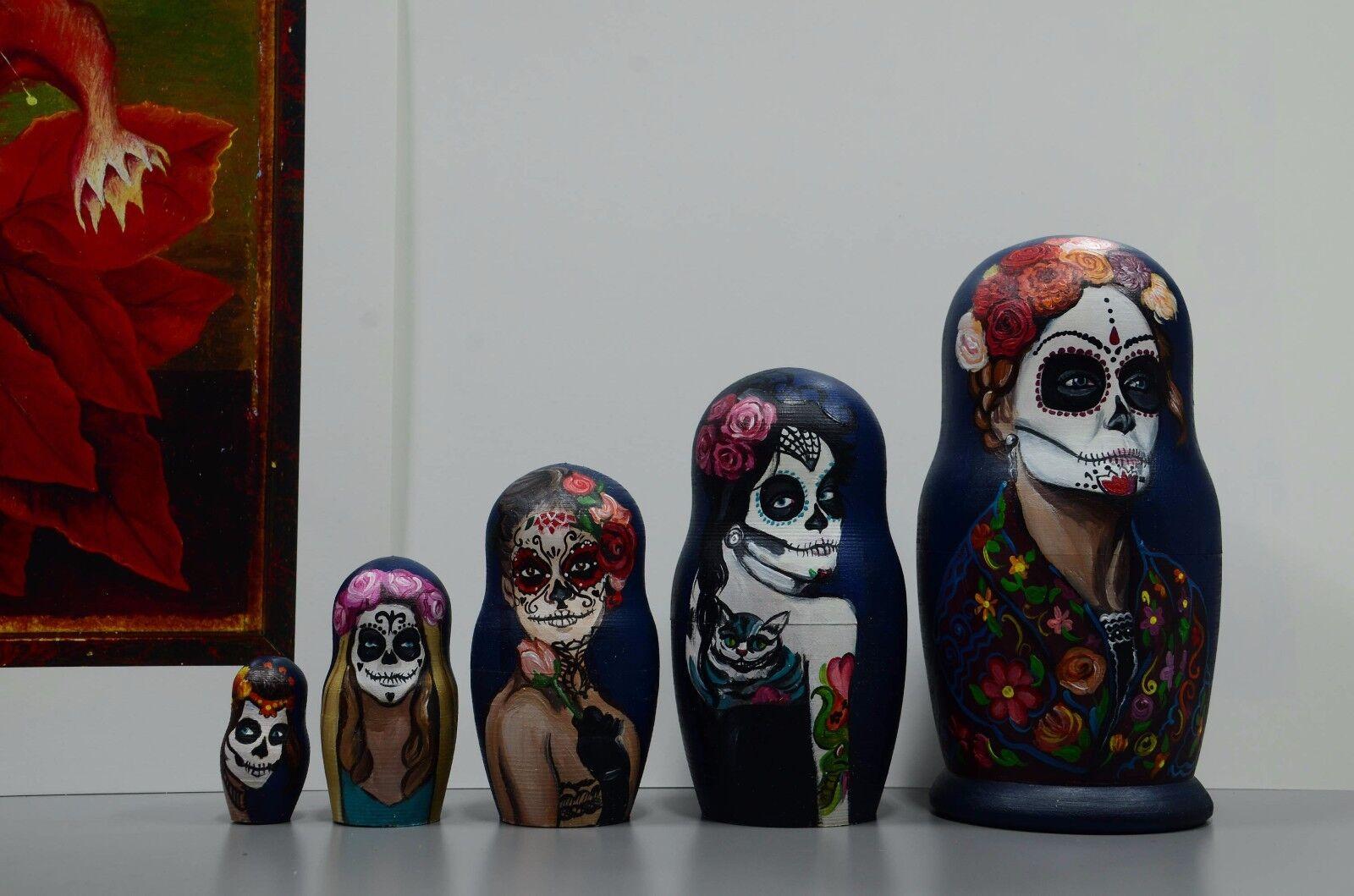Catarina Día de Muertos, Russian Matryoshka, handmade Wooden nesting dolls, handmade Matryoshka, ed1576