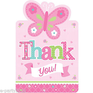 Welcome little girl thank you notes 8 baby shower for Baby shower decoration kits girl