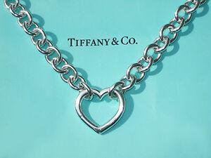 58afb7da8f8c4 Tiffany & Co Sterling Silver Heart Clasp Choker Necklace | eBay