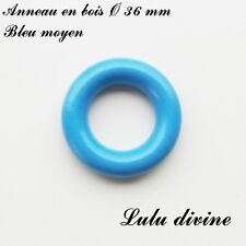 Anneau en bois de 36 mm (XS) sans trou, pour hochet bébé : Bleu moyen