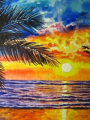 Free Shipping colorful sunset and palm trees on beach 2.5 x 3.5 miniature art card acrylic paint signed by artist ACEO Original Painting