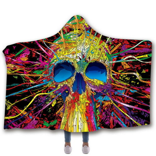 3D Skull Printed Cool Hooded Blanket Soft Winter Warm Plush Cloak Wearable Cloth