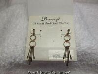 Danecraft 24 Kt Gold Over Sterling Silver Dainty Dangle Earrings
