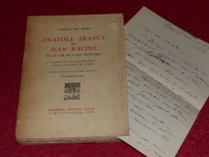 Gabriel Las Hons - Anatole Francia Y Jean Raíz 1927 Envío Firmado + L. A. S