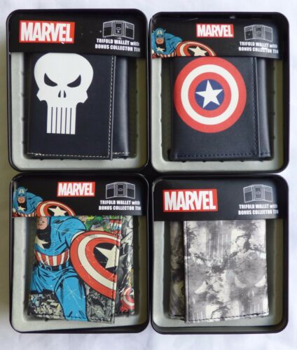 MARVEL Trifold Wallet with Bonus Collector Tin Captain America or The Punisher