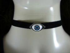 """A Lucky Evil Eye Charm Black 10mm Velvet Cord 13"""" Choker Necklace Wiccan Pagan"""