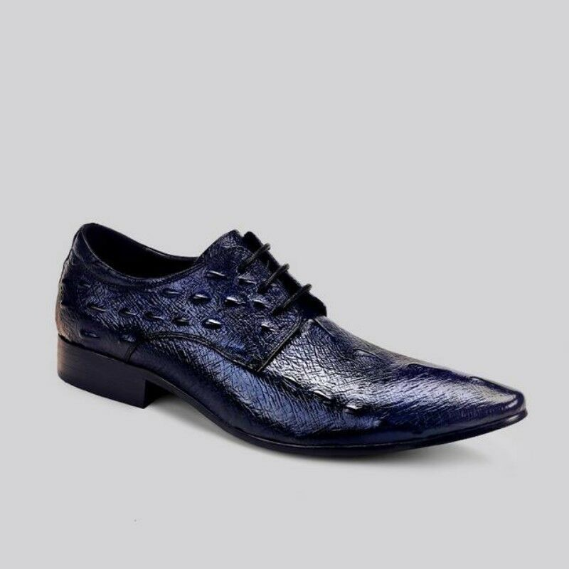 benvenuto per ordinare Men Leather Pointy Toe Print British Style Formal Formal Formal Casual scarpe Business Lace Up  incredibili sconti