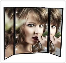 8 LED Iluminado plegado Compacto Espejo de Baño Maquillaje Cosmético Afeitado Negro