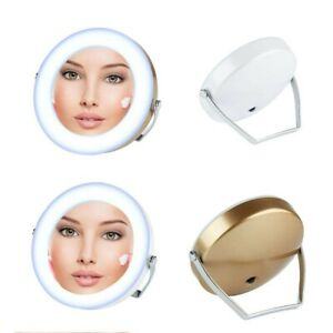 Folding-Pocket-Mirror-Cosmetic-Compact-with-LED-Lights-Lamps-Makeup-Portable-3X
