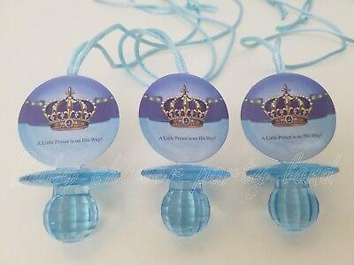 12 owl Diamond cut Pacifier Necklaces Baby Shower Favors Blue It/'s a Boy Game