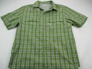 Columbia-Mens-Button-Front-Shirt-Green-Check-Plaid-Short-Sleeve-Mesh-Collared-L