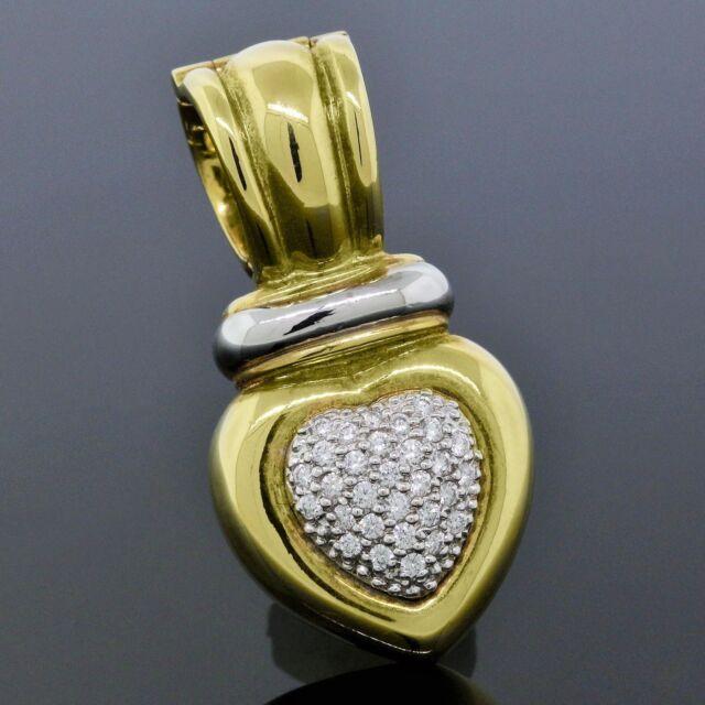 David Yurman 18K Yellow Gold Pave Diamond Heart Necklace Cable Pendant Enhancer
